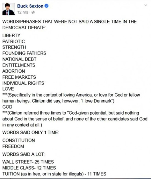 BEFUNKY Buck Sexton Facebook Post 10142015 Words not uttered during Demo.jpgcratic debate