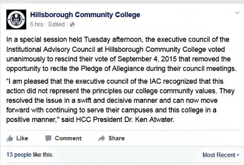 Hillsborough Community College Facebook post rescinding decision to do away with Pledge of Allegiance