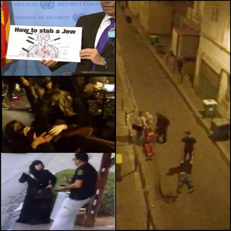collage of  paris islamic terrorist attack and palestinians attacks in Israel