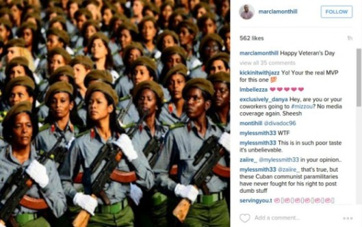 Marc Lamont Hill Instagram page posts picture of Cuban paramilitary soldiers for veterans day
