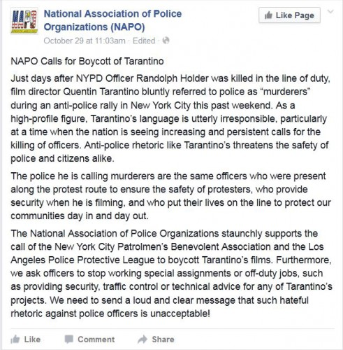 Screenshot National Association of Police calls for boycott of Quentin Tarantino movie the Hateful Eight
