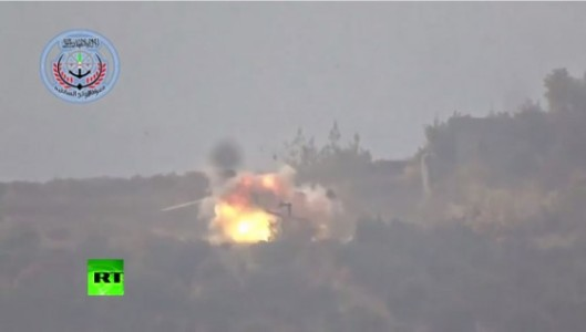 screenshot of video footage of Russian helicopters being destroyed by FSA