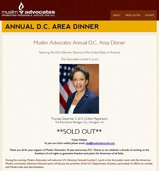 Screenshot Annual D_C_ Area Dinner « Muslim Advocates' 2015 dinner website shot of Loretta Lynch keynote speaker 514 x 550