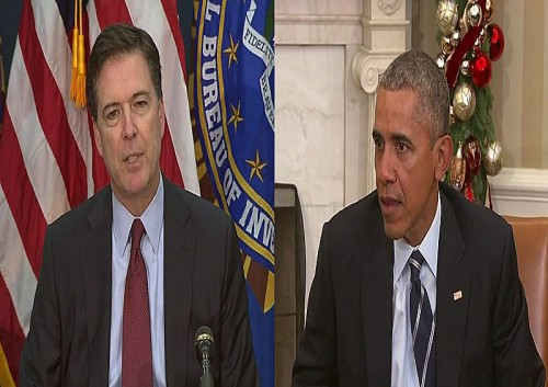 James Comey and Barack Obama in separate press conferences discussing San Bernardino Islamic terrorist attack (screenshots)