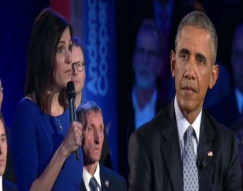taya kyle barack obama exchange at obama gun control cnn townhall screenshot
