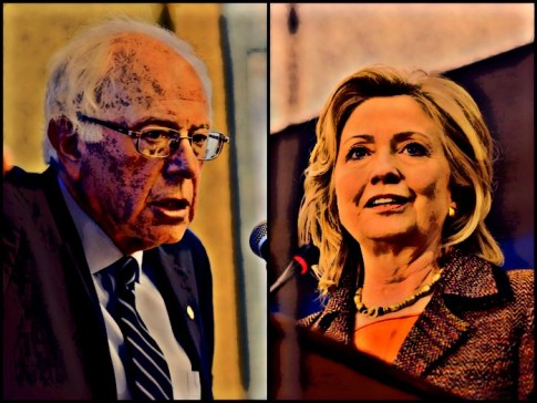 BEFUNKY Sanders New Hampshire 2015 by M Vadon Clinton CSIS Conference 2011 in Brazil_Fotor_Collage