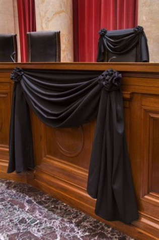 Supreme Court Associate Justice Antonin Scalia's Bench Chair and the Bench in front of his seat draped in black following his death on February 13, 2016. Source: SCOTUSBlog.