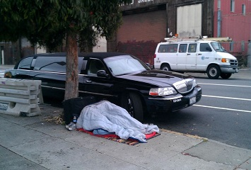 Homeless in San Francisco, California courtesy of Shani Heckman, Flickr - creative commons. 350 x 240