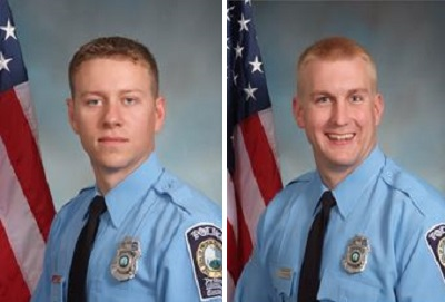 Officers Jesse Hempen (left) and David McKeown were also shot.  Injuries are not life threatening.
