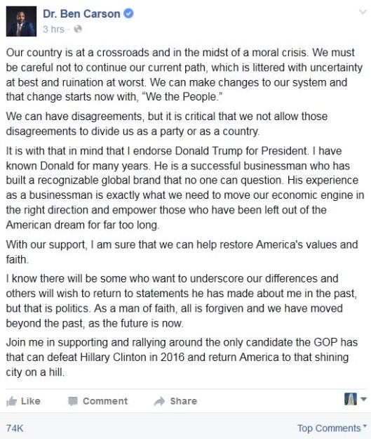 dr benjamin carson facebook endorsement of donald trump