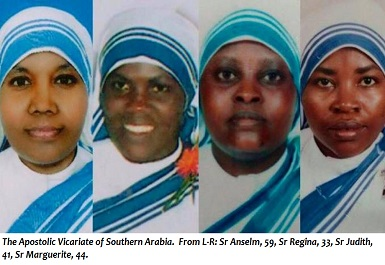 From L-R Sr Anselm 59 Sr Regina, 33, Sr Judith, 41, Sr Marguerite, 44.slaughtered by islamic state in yemen CROPPED