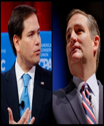 Marco Rubio CPAC photo and Ted Cruz photo by Michael Vadon Flickr creative commons_Fotor_Collage 003