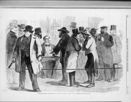 Naturalization of Foreigners Tammany Hall - The drawing in the newspaper is a depiction of Boss Tweed's political machine signing up a group of immigrants just before an election. Title: Naturalization of foreigners, scene in Tammany Hall, Publ. 1856. Source: Library of Congress.