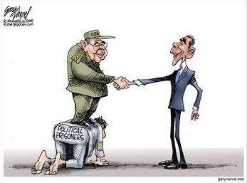 obama castro cuba political prisoners cartoon by gary varvel