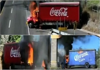 Screenshot delivery trucks of American businesses in Mexico set ablaze by cartels 347 x 245