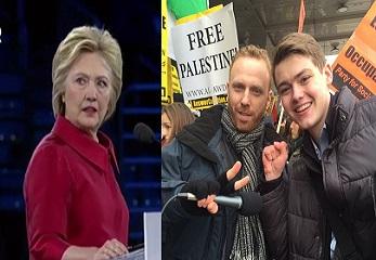 screenshot hillary clinton aipac while top adviser son max blumenthal protest Israel outside