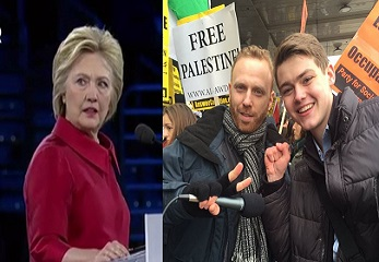 screenshot hillary clinton aipac while top adviser son max blumenthal protest Israel outside