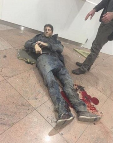 Injured: Basketball player Sebastien Bellin was thrown 20 metres into the air by a blast in Brussels Airport and has since undergone surgery for his injuries (Daily Mail)