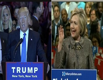 screenshot donald trump and Hillary Clinton from super tuesday iii victory speeches