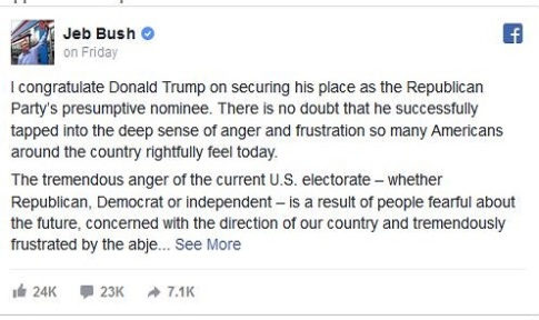 Jeb Bush Facebook post reneging on loyalty oath