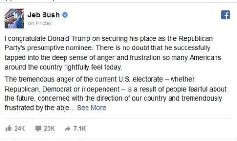 Jeb Bush Facebook post reneging on loyalty oath