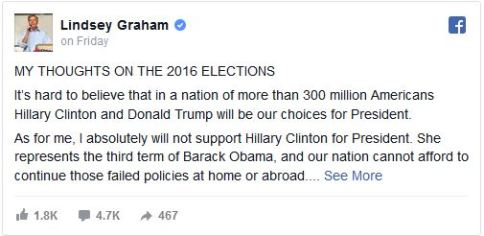 Lindsey Graham Facebook Post Reneging on Loyalty Pledge