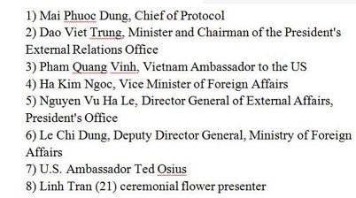 List of Communist Vietnamese officials who skipped Obama's meet and greet at airport
