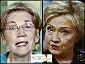 BEFUNKY Taking Elizabeth Warren Hillary Clinton with a grain of salt CROPPED