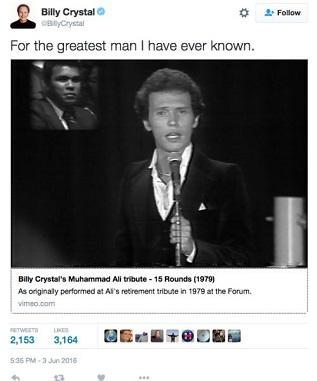 billy crystal tweet muhammad ali