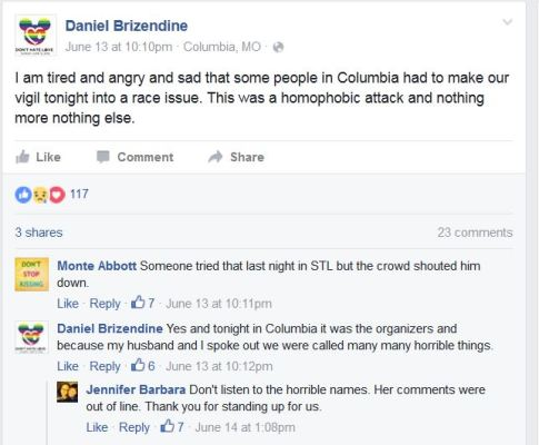 Daniel Brizendine FB post re Mizzou blm activists guilt tripping lgbt community at vigil for victims of Orlando Islamic terrorist attack
