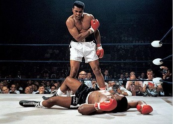 Muhammad Ali knocks out Sonny Liston, May 25, 1965 - Source: @MuhammadAli/Twitter.