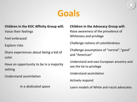"A slide from the Bank School shows the different goals for white children (right) and ""kids of color"" (left)."