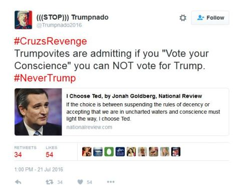 cruz supporter trumpnado tweet insulting intelligence of trump supporters