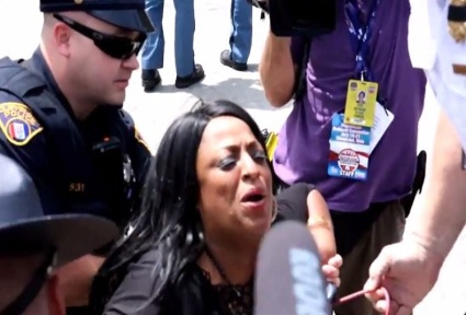 screenshot Kathy Wray Coleman at RNC moments before arrest on outstanding felony charges 2