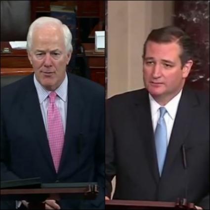 Senator John Cornyn and Senator Ted Cruz screenshots Collage_Fotor