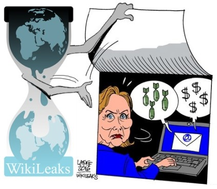 Wikileaks release clinton emails cartoon