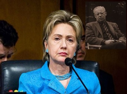 hillary clinton as senator in 2007 cropped from image with admiral mike mullen senate armed services comm hearing source wikipedia public domain and Saul Alinsky