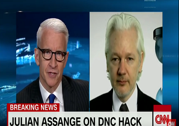 Screenshot Anderson Cooper Julian Assange Wikileaks dnc hacks