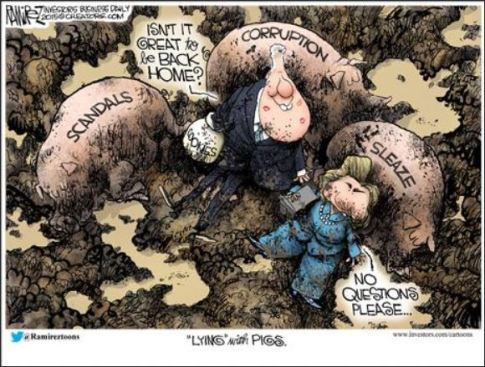 the clintons lying with pigs by michael ramirez