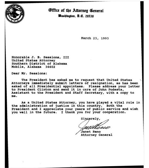Clintons Attorney General Janet Renos 1993 letter firing 93 – Letter of Firing