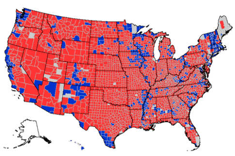 2016 presidential election results red and blue map