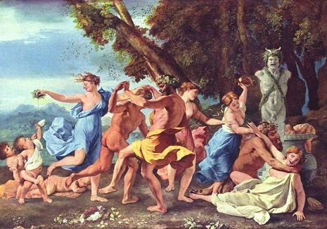 "<span style=""font-size: 8pt;"">Source: Above painting ""Bacchanale devant une statue de Pan translated Bacchanal before a Statue of Pan by Nicolas Poussin circa 1631-1633, <a href=""https://commons.wikimedia.org/wiki/File:Nicolas_Poussin_-_Bacchanale_devant_une_statue_de_Pan.jpg"">Wikimedia Commons</a>.</span>"
