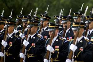 Soldiers marching dress blues