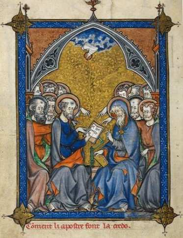 The twelve Apostles receiving inspiration from the Holy Spirit and composing the Creed Illumination by Somme_le_Roy_f.10v Date 1295 Source Wikipedia