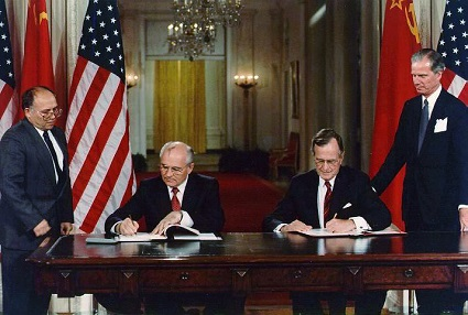 "Presidents Bush and Gorbachev sign United States/Soviet Union agreements in the East Room of the White House. June 1, 1990 - Photo Credit: <a href=""https://georgehwbush.com/presidency#ctop"">George Bush Presidential Library and Museum</a>"