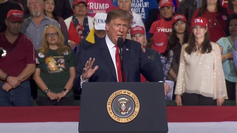 screenshot president donald j trump kag 2020 campaign rally in El Paso Texas