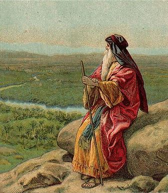 The Death of Moses, as in Deuteronomy 34:1-12, Bible card published 1907 by the Providence Lithograph Company (cropped) Source: Wikimedia Commons